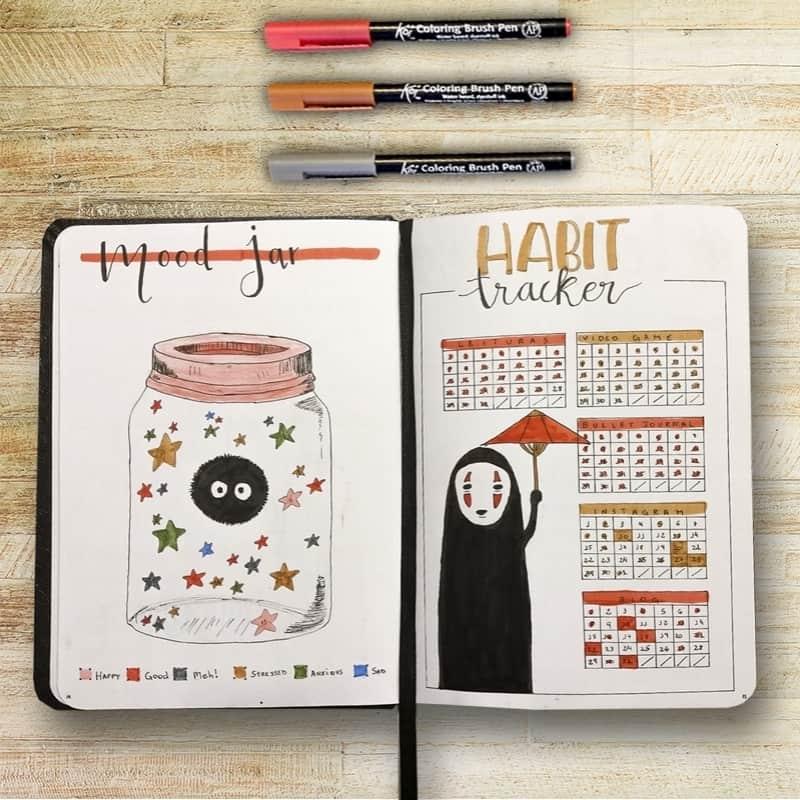 """My Chaotic BuJo • Jade Amorim on Instagram: """"Se tem uma página que eu amo no meu Bullet Journal, é esta. Eu não sei de onde tive a ideia deste Habit Tracker, mas amo ele do fundo do…"""""""