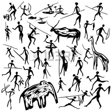 Set Of Vector Rock Paintings With Scenes Of Hunting And Life Primitive Painting Painted Rocks Hunting Drawings