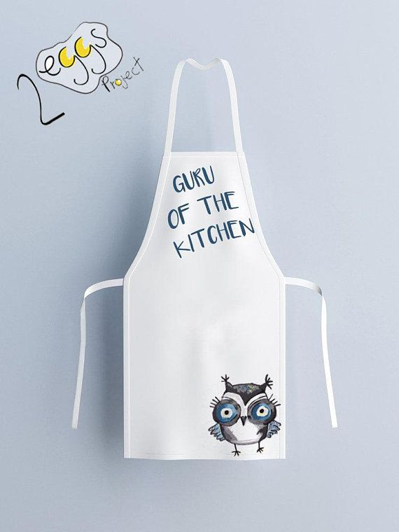 Kitchen apron white – Printed on fabric Apron with Saying ...