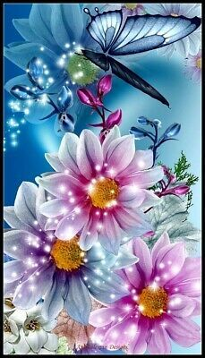Details about Shiny Flowers and Butterfly - DIY Chart Counted Cross Stitch Pattern Needlework