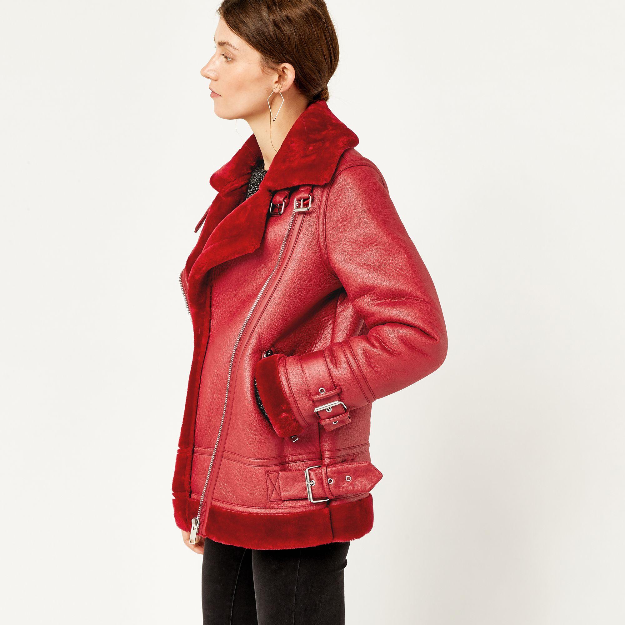 Warehouse, OVERSIZED BIKER JACKET Bright Red 1 Jackets