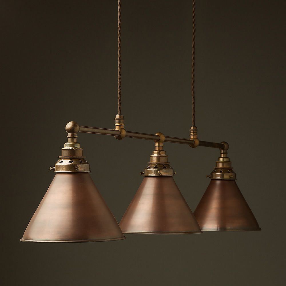 Antique Brass Edison Billiard Table Pendant suspended from cables ...