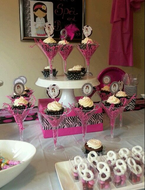 Cup cakes in martini glass Spa party Stuff to Try Pinterest