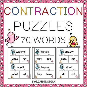 Contractions Puzzles Distance Learning Packets First Grade Writing Lessons Literacy Centers Teaching