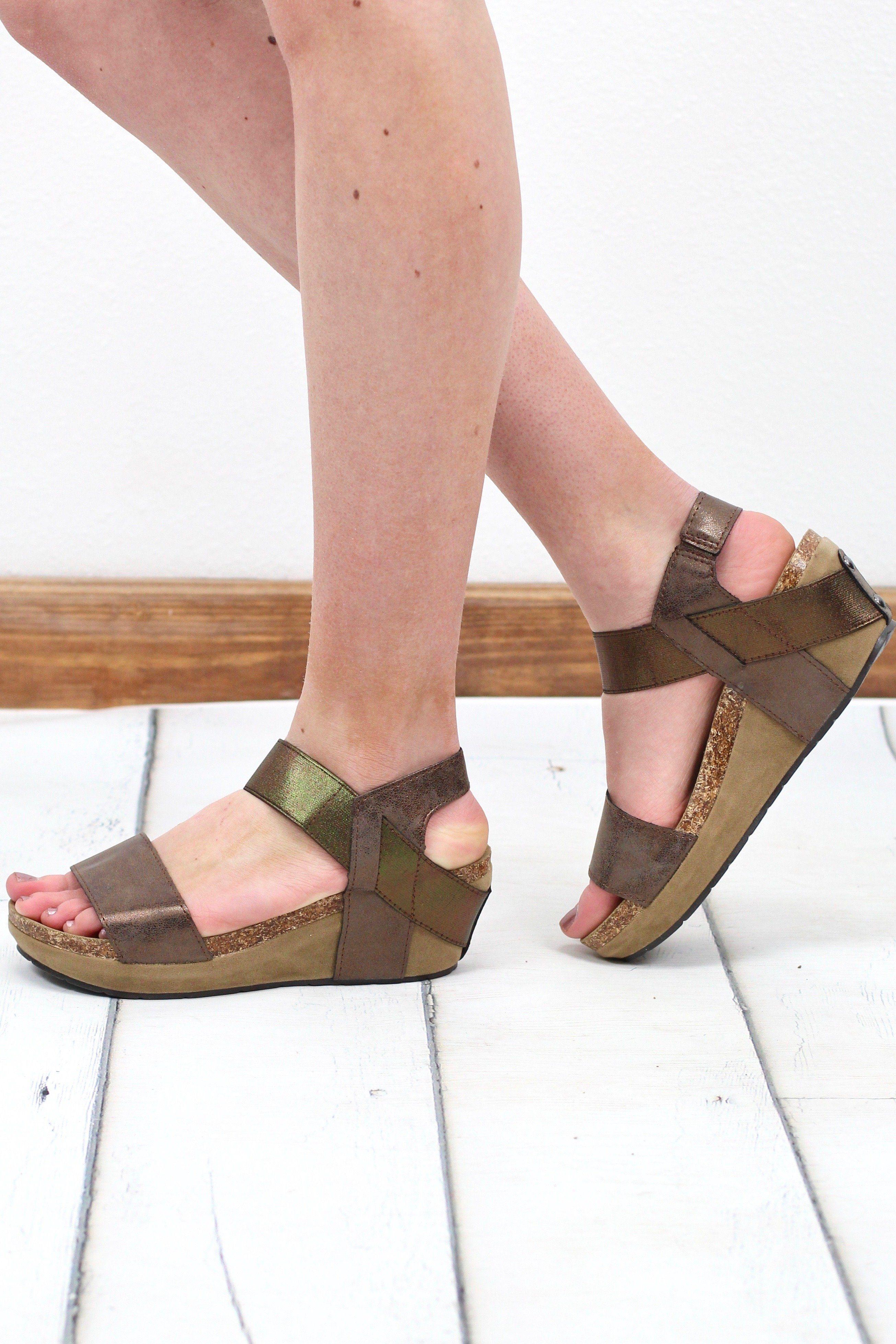 f2e023403c6f Chantal Metallic Low Wedge Sandal  Bronze