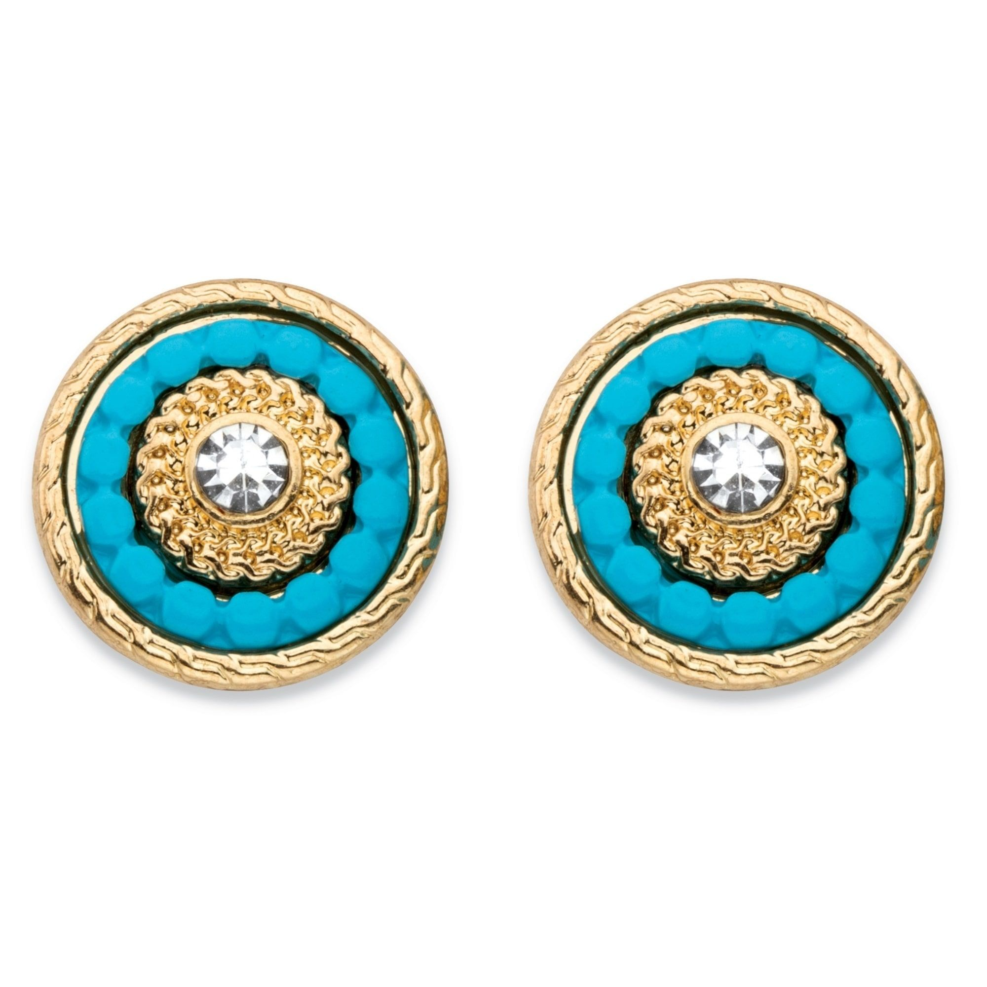 80df9fcc4 Round Crystal and Simulated Turquoise 14k Gold-Plated Beaded Halo Button  Earrings Bold Fashion