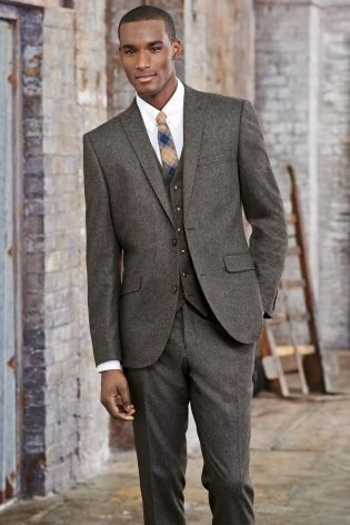 Buy Brown Donegal Slim Fit Suit: Jacket from the Next UK online ...