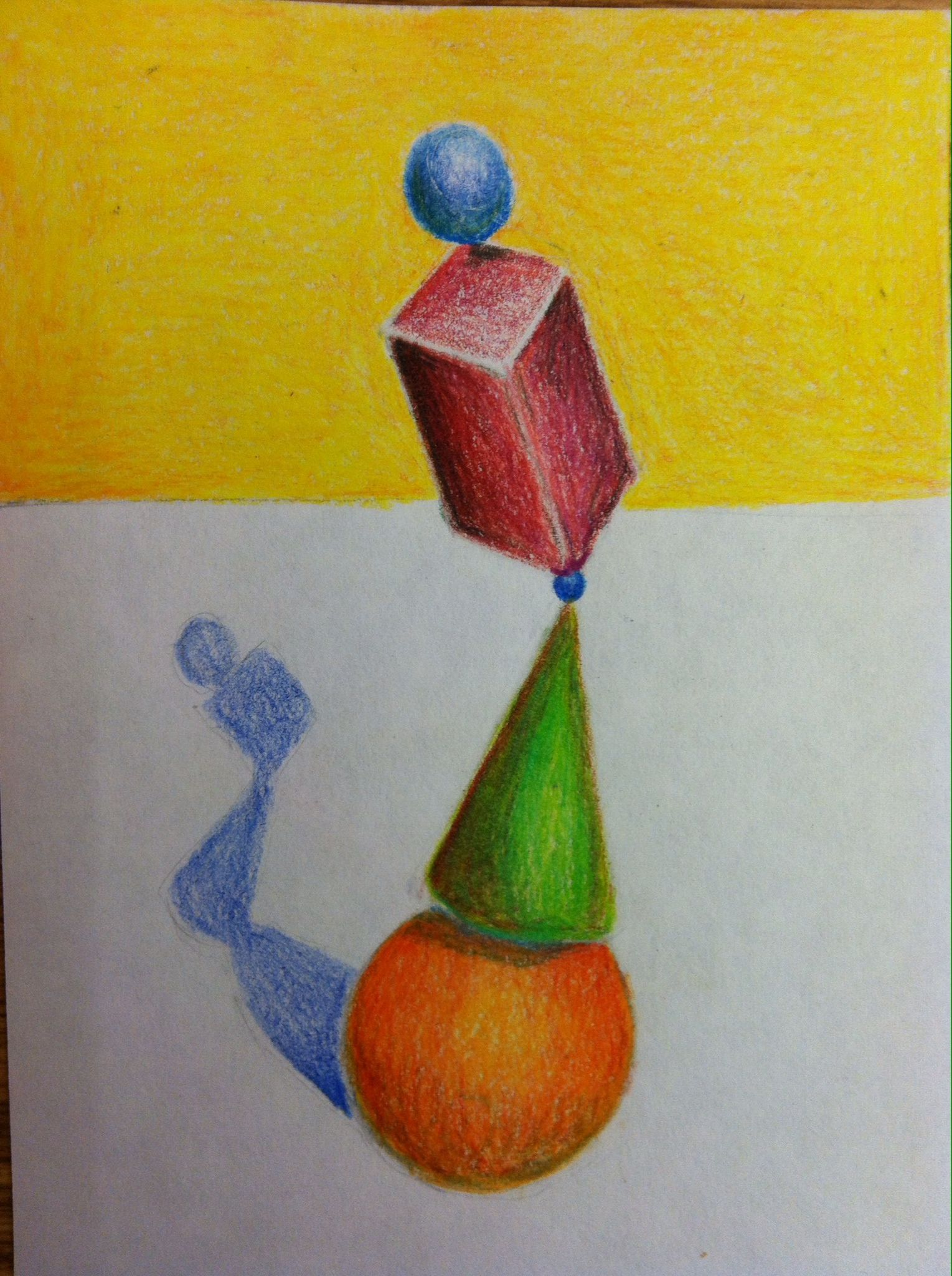Colored Pencil Blending Exercise Shape Tower