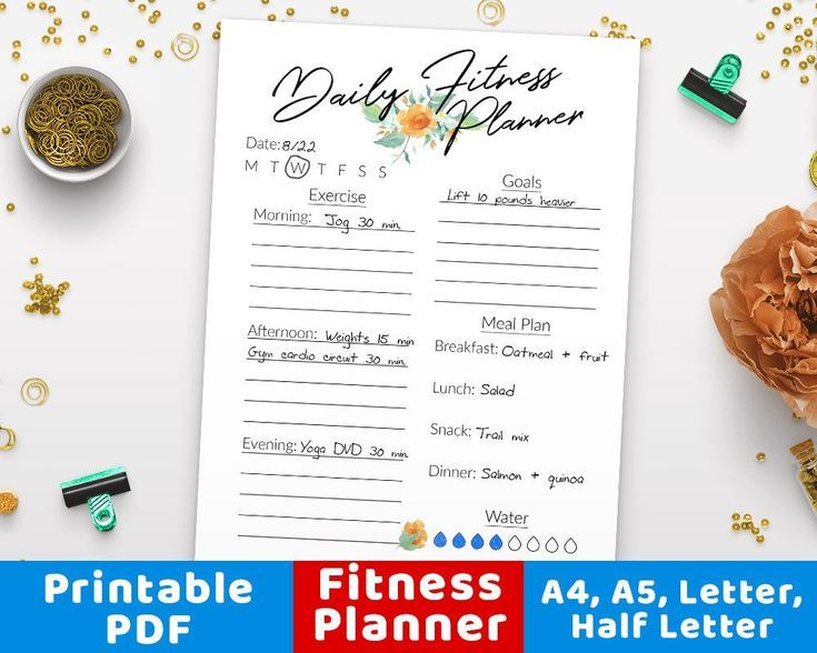 #Daily #Exe #Fitness #health #Journal #Log #planner #Printable #wellness #workout         Daily Fitn...
