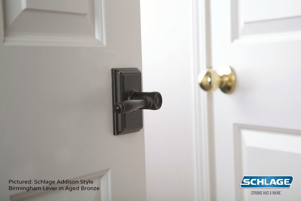 Gentil Look At The Difference A Simple Change Of Door Hardware Can Make! Pictured:  Schlage Addison Style Birmingham Lever In Aged Bronze #SchlageStyleShakeUp