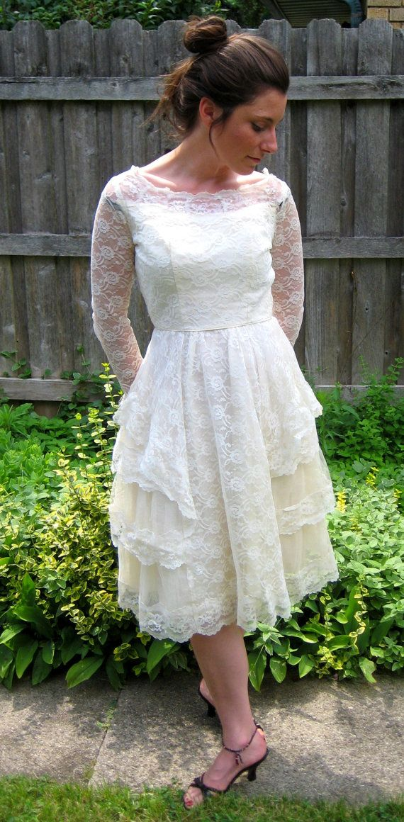 vintage 60s ivory lace bridal wedding party by lovestoryvintage, $40.00