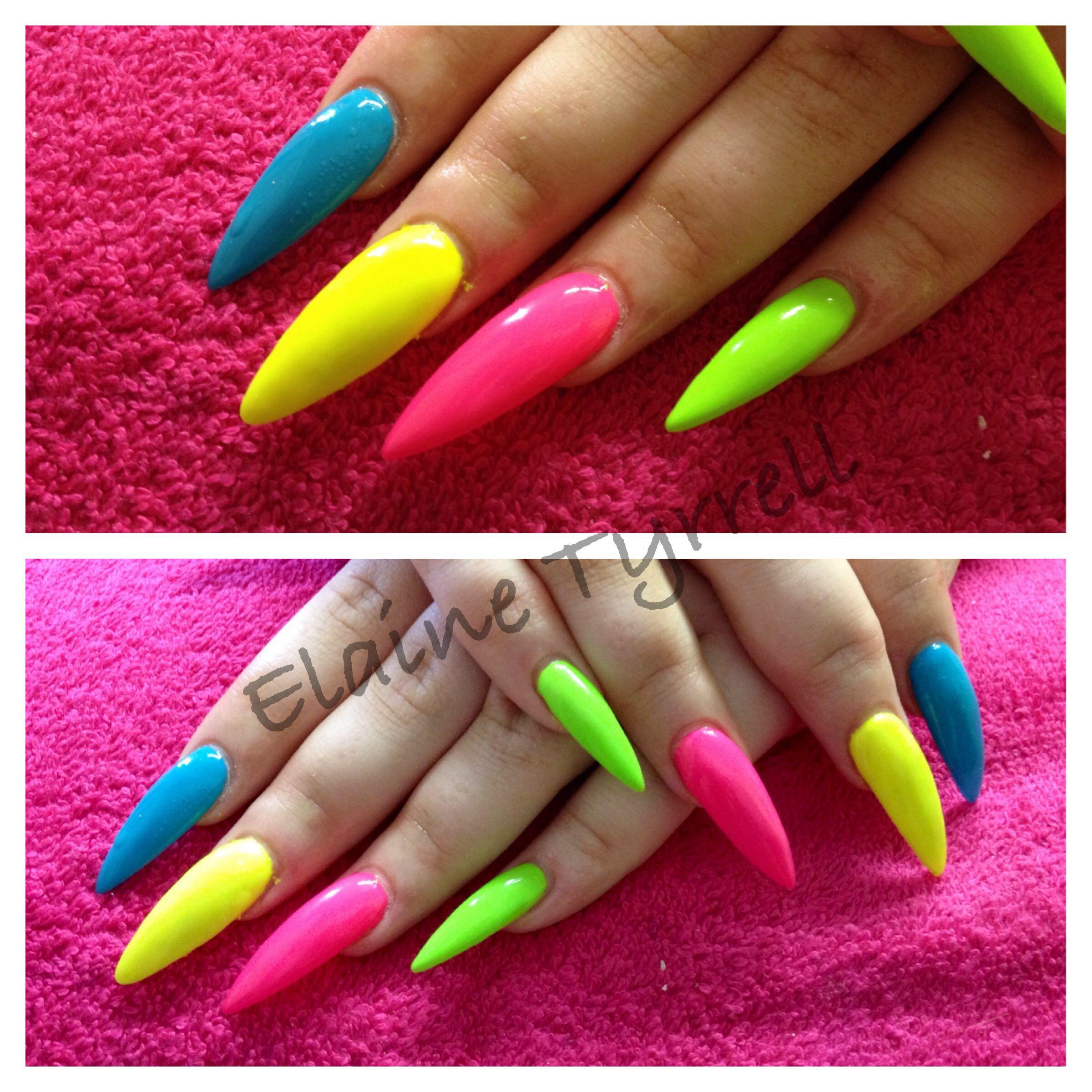 Neon Stiletto Nails