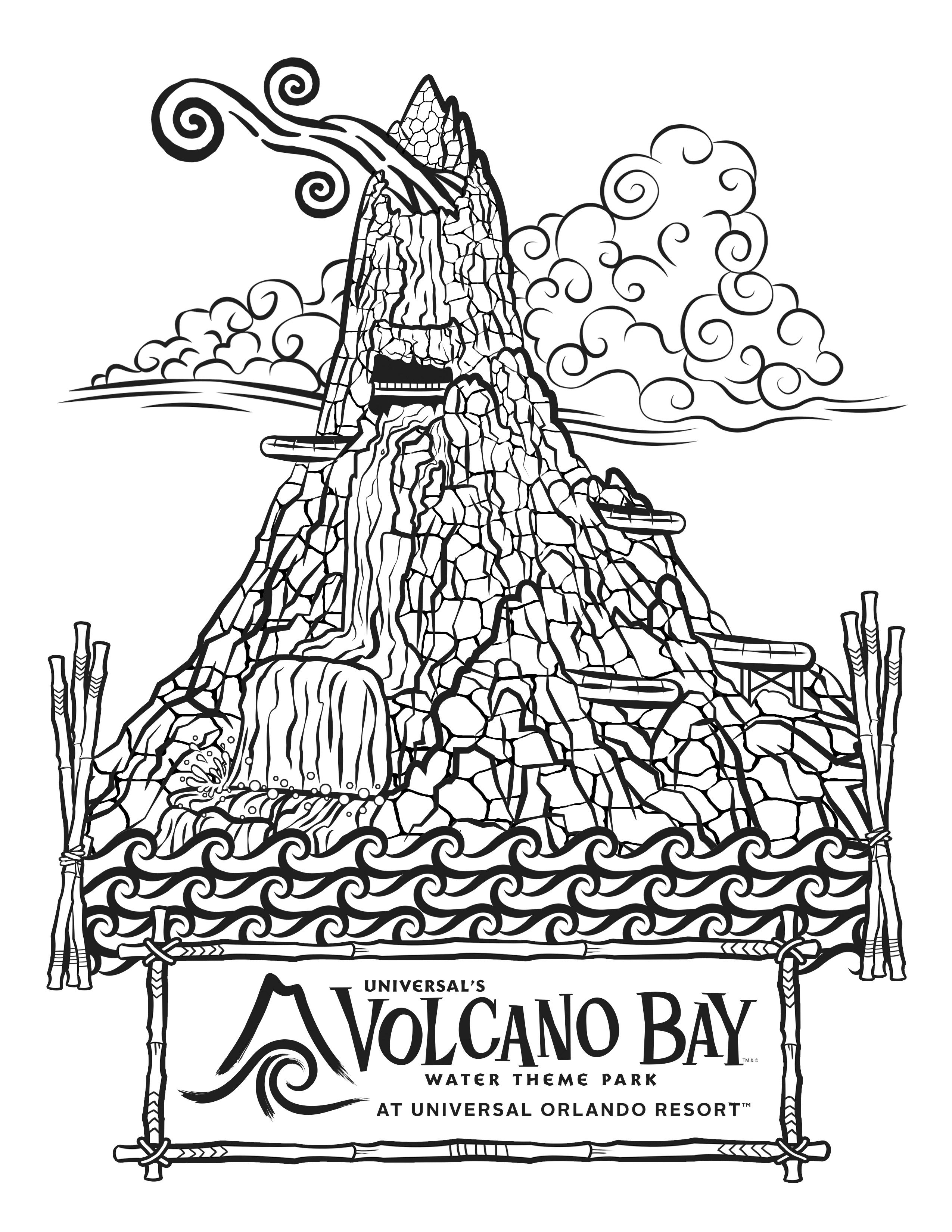 Coloring Pages for Universal's Volcano Bay Water Theme