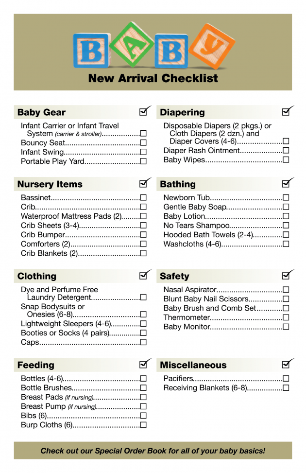 Baby new arrival checklist! Visit us at: http://www ...