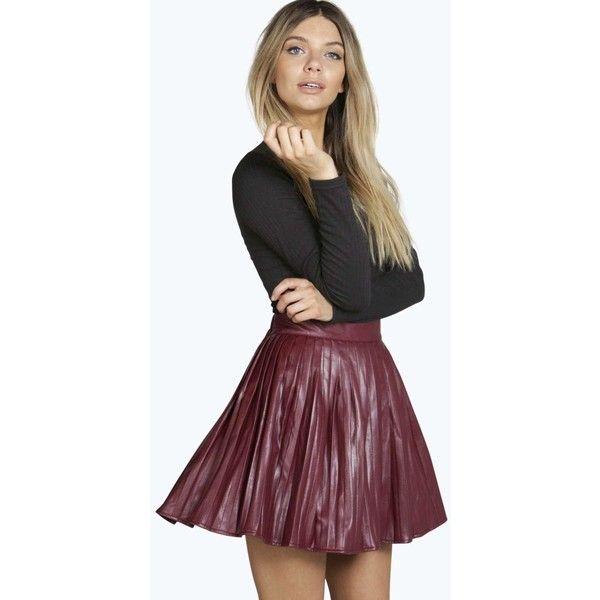 f67df9ae59 Boohoo Amalia Pleated Leather Look Mini Skirt ($30) ❤ liked on Polyvore  featuring skirts, mini skirts, wine, maxi skirt, faux leather skirt, maxi  pencil ...