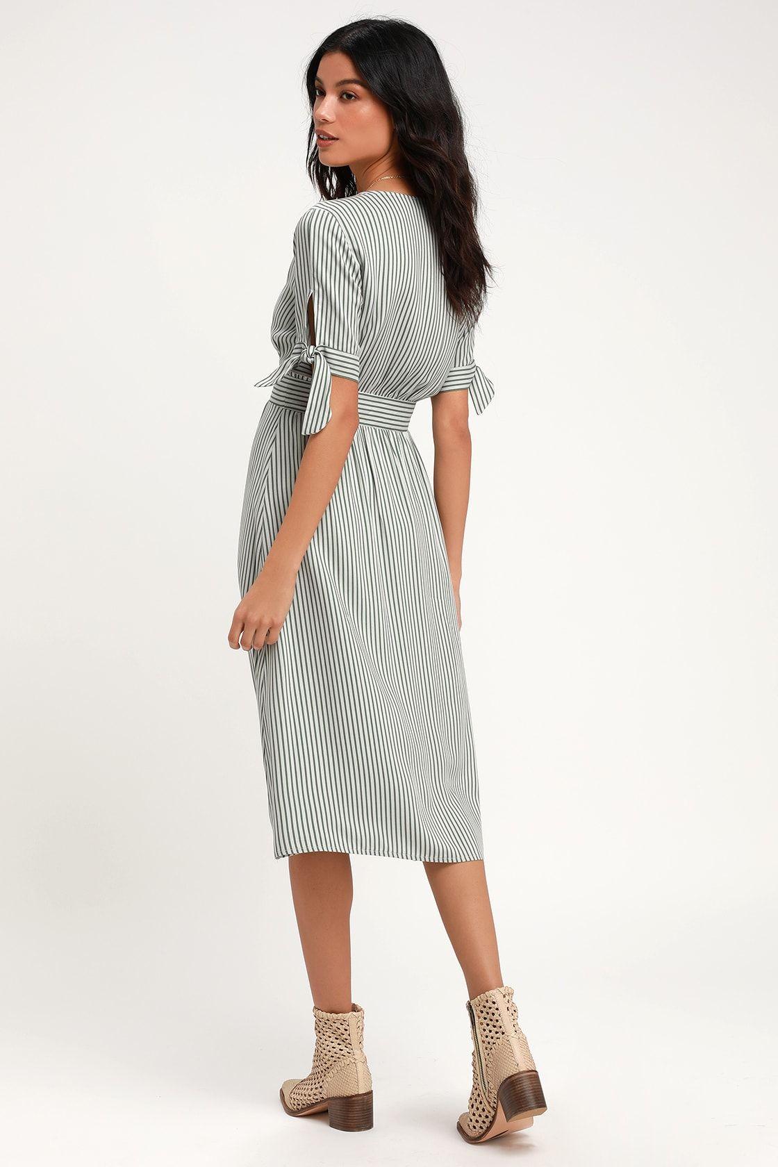 Sunshine Dreamer Green Striped Wrap Midi Dress Womens Wrap Dress Long Wrap Dress Wrap Dress Short [ 1680 x 1120 Pixel ]