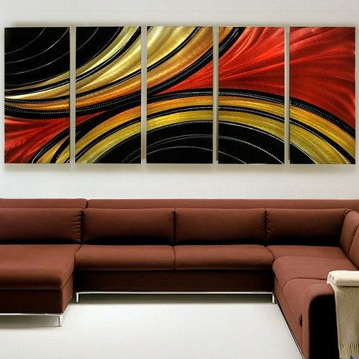 Large Gold, Red & Black Abstract Metal Painting - Multi Panel Modern ...