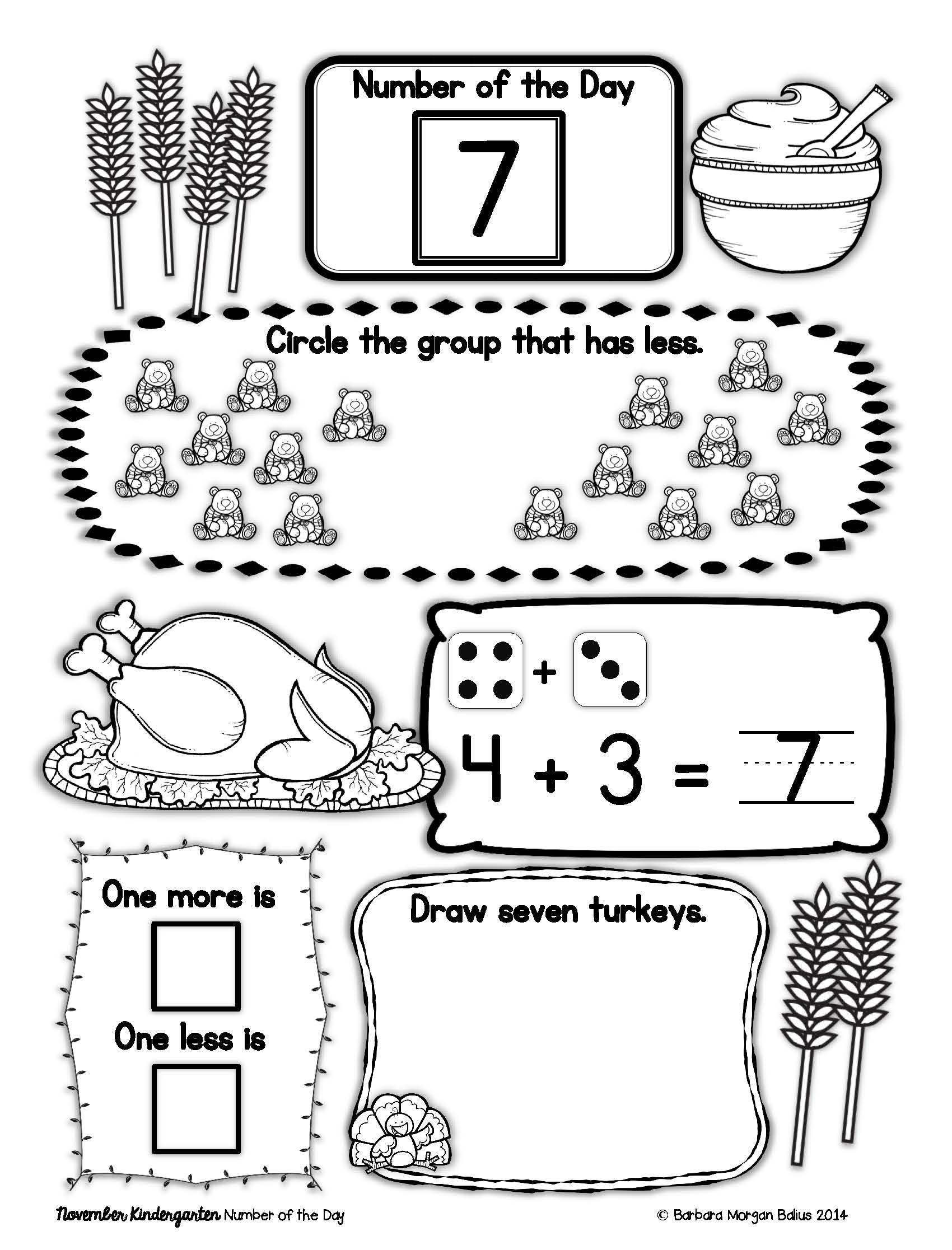 Kindergarten Math Number of the Day Number Sense Morning Work ...