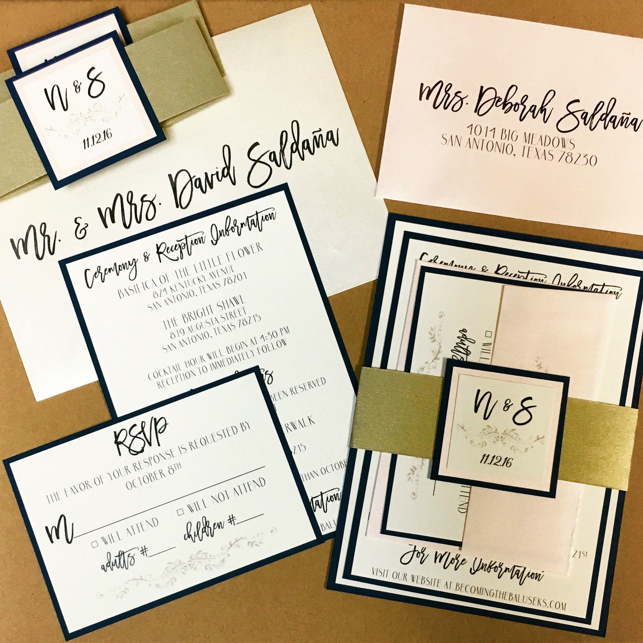 Navy and Blush Wedding Invitation Set. Navy, blush, light pink ...