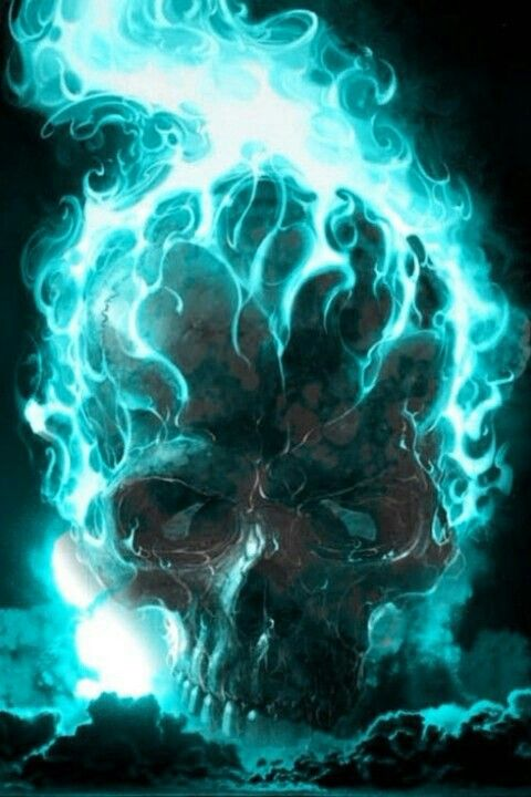Blue Flaming Skull Airbrush Skull Skull Pictures Skull