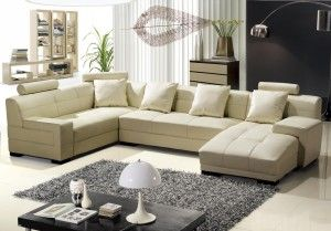 Fantastic Beige Leather Sofa Set