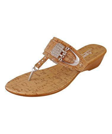 Loving this Tan Cork Buckle Hill Wedge Sandal on #zulily! #zulilyfinds
