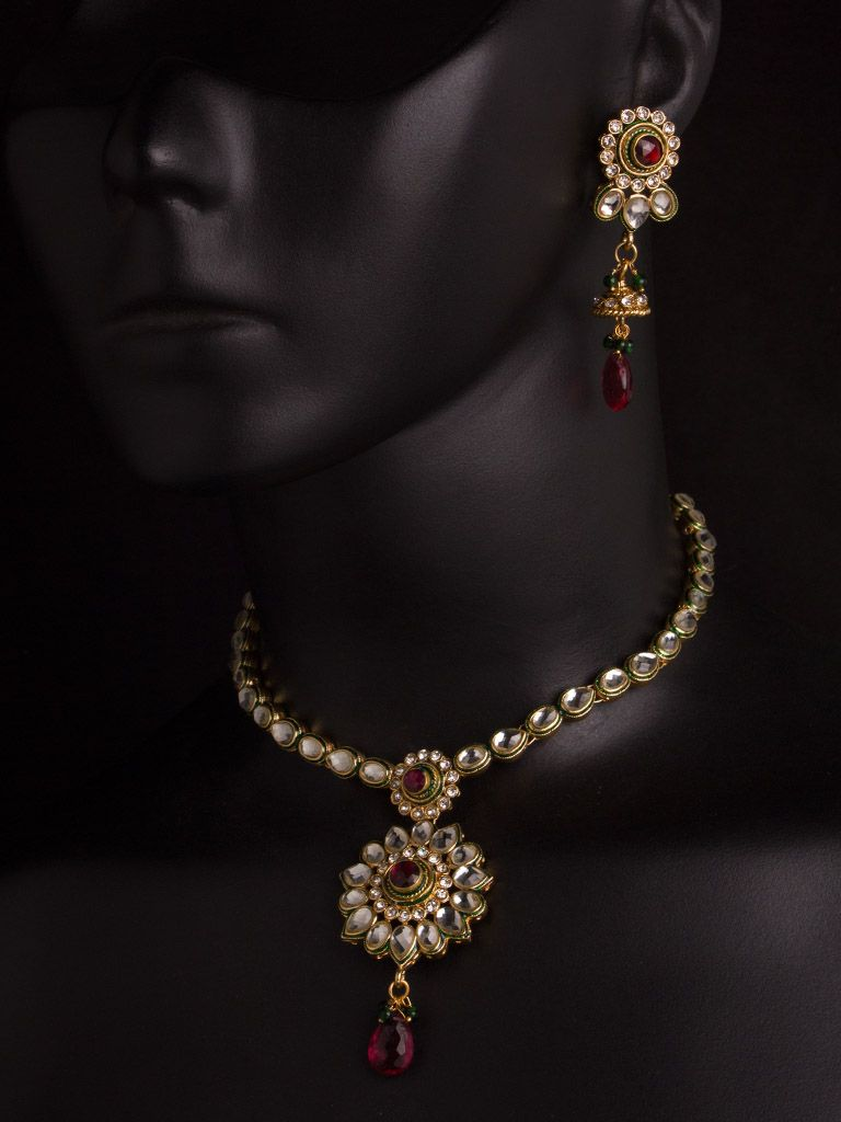 Kundan necklace set with pink and white stones wd ideas