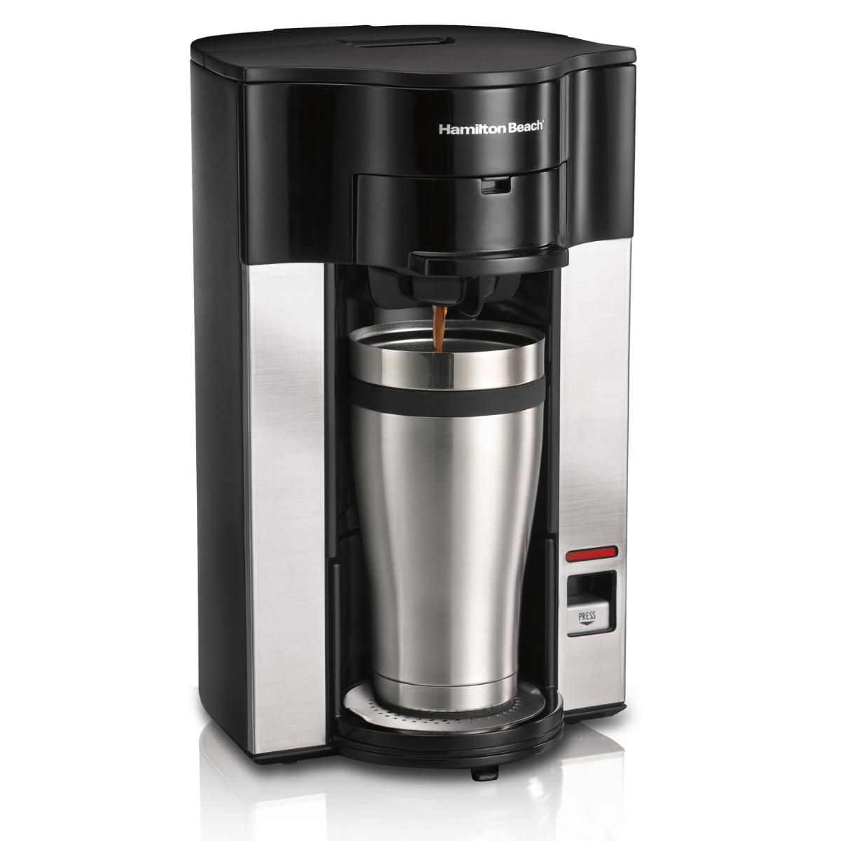 The Hamilton Beach 49990 Stay or Go personal cup pod coffee maker was designed to keep up with an on-the-go lifestyle.
