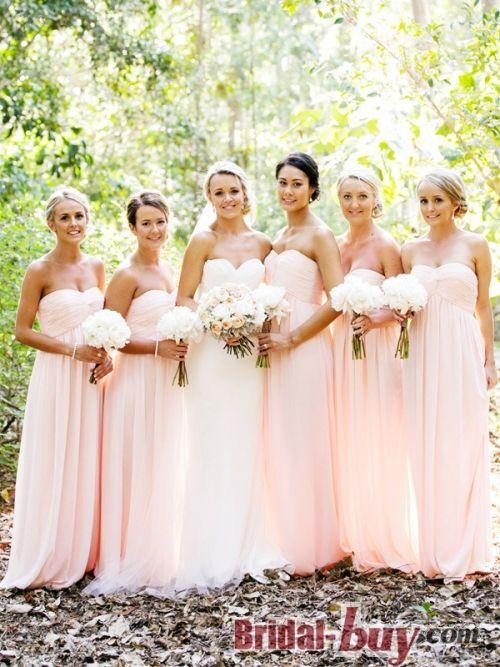Gorgeous Princess Sweetheart Ruched Long Pink Chiffon Bridesmaid ...