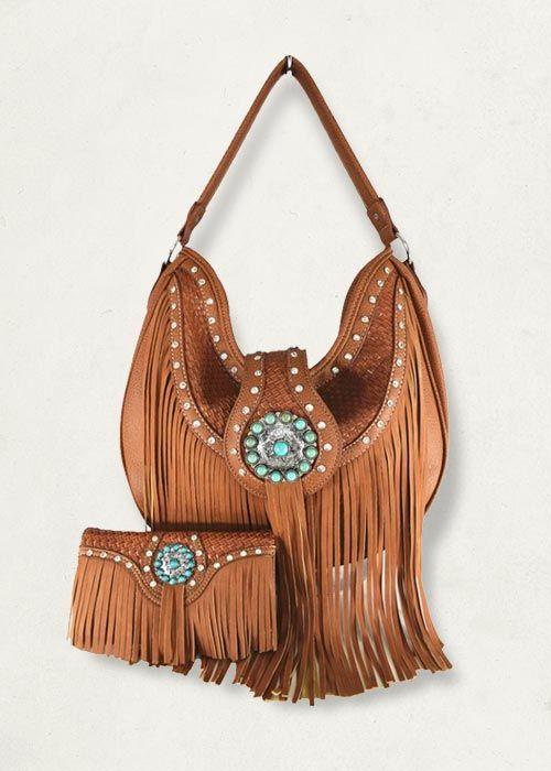 Western Cowgirl Fringe Hobo Bag and Wallet Set,$60