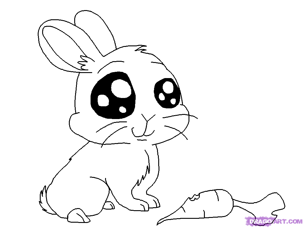Cute Cartoon Animals To Draw How To Draw An Anime Bunny Step 5 Bunny Drawing Cartoon Drawings Of Animals Animal Coloring Pages