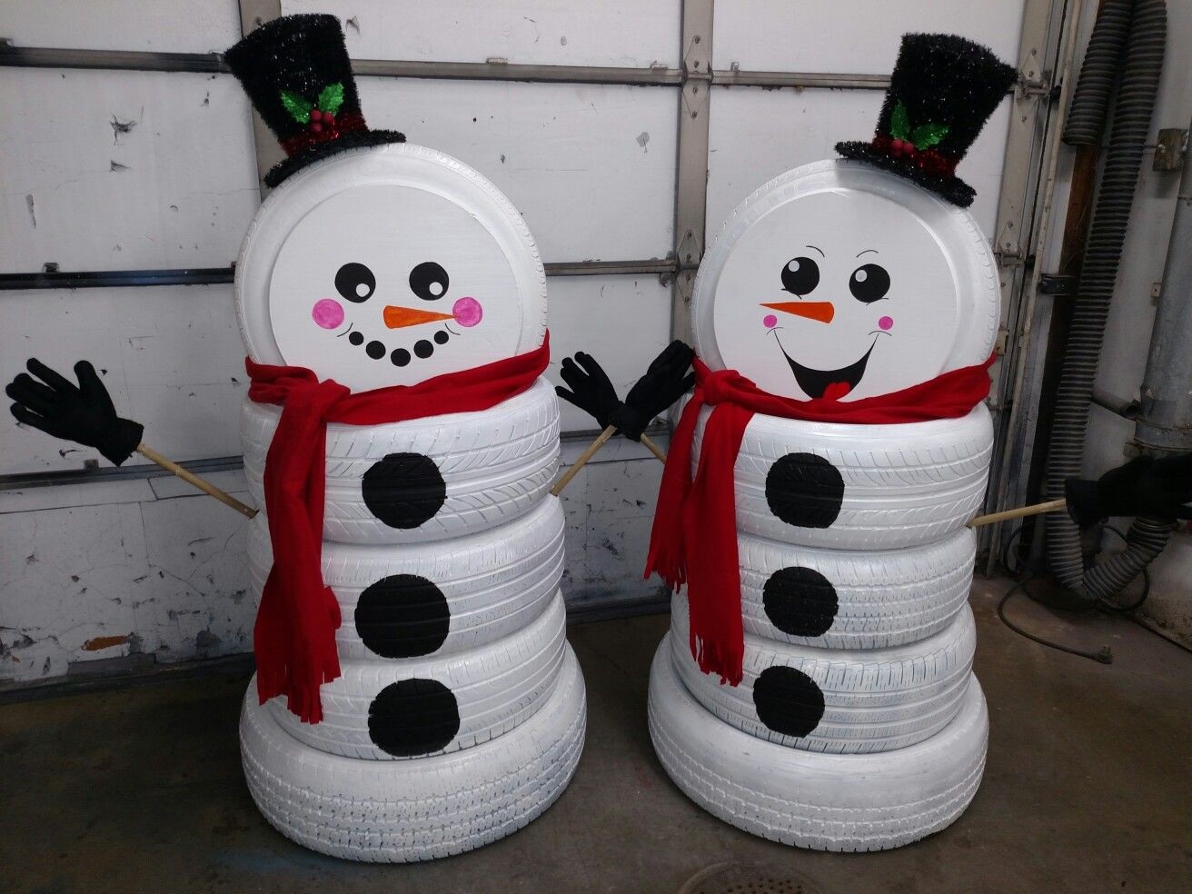 Tire snowman made for auto repair christmas pinterest for Snowmen made from tires