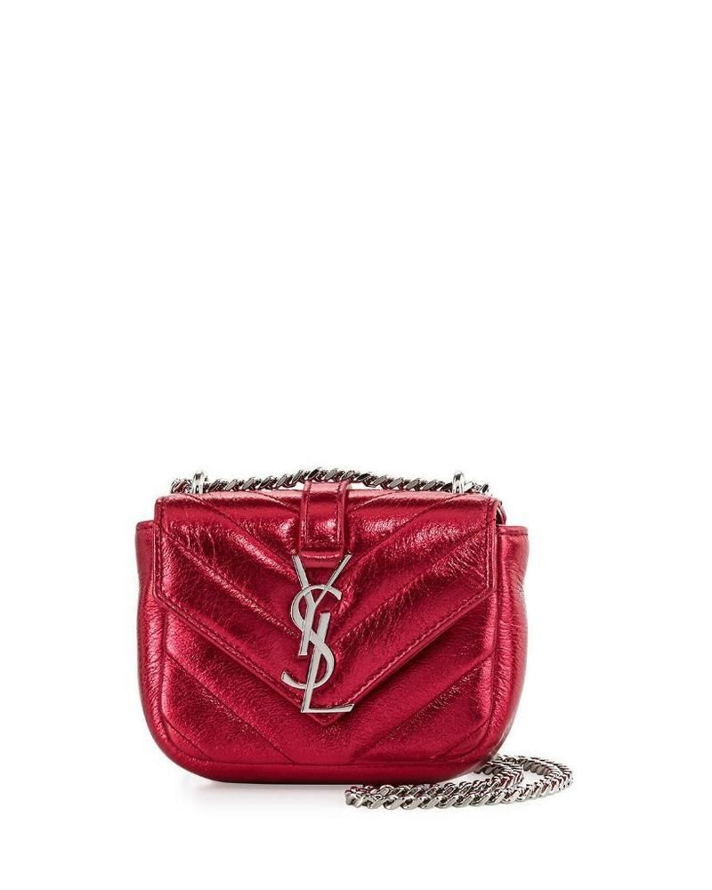 NEW! Saint Laurent YSL Monogram Micro Quilted Leather Chain Shoulder Bag Red a8185ea8527b2