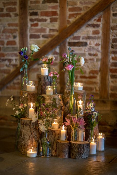 Wood log flowers candles display