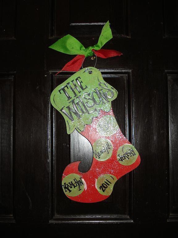Family Name Christmas Stocking Ornament Personalized Polka