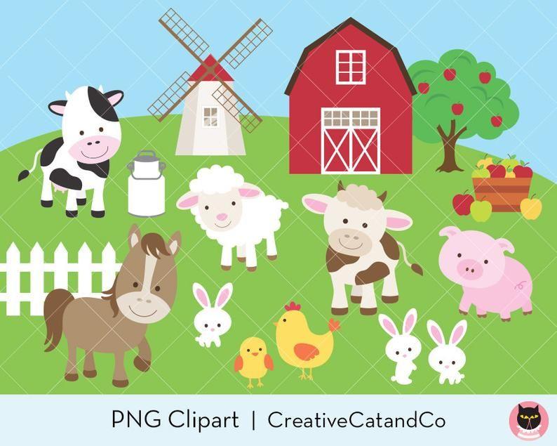 Farm Animal Clipart Clip Art Cute Farm Animal Clipart Farm Etsy Animal Clipart Animal Illustration Farm Animals