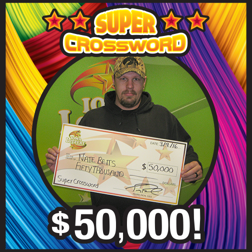 Another lucky winner today. Meet Nate Betts of Boone. He purchased a Super Crossword scratch ticket at Casey's General Store, 1127 Story St. in Boone and won a $50,000 prize! Congrats, Nate! #WooHoo‪