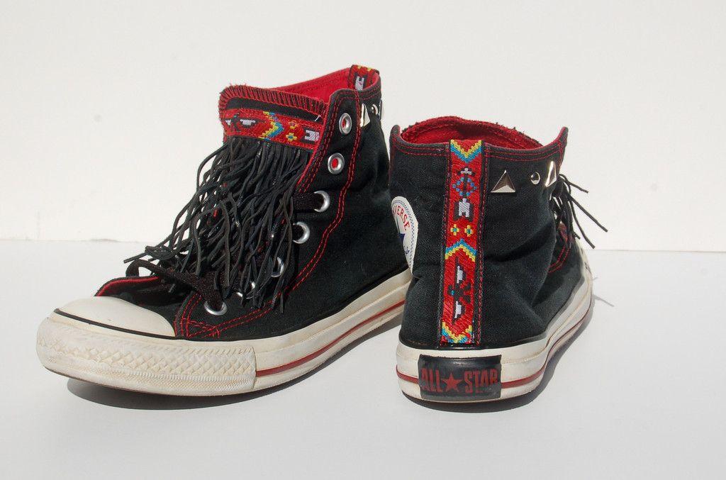 "The ""Navajo"" Leather Fringe Studded Converse Allstars - Black - Love  Bambii - Women's Bohemian Fashion ☮ + ♥"