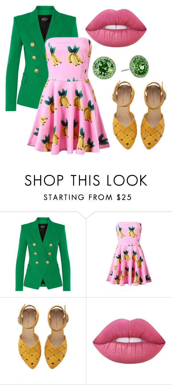 """""""Bananal"""" by marissoledad ❤ liked on Polyvore featuring Balmain, WithChic, Lime Crime and Nina"""