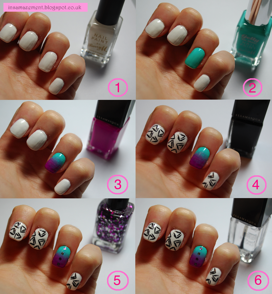 Ombré / Geometric nail art tutorial