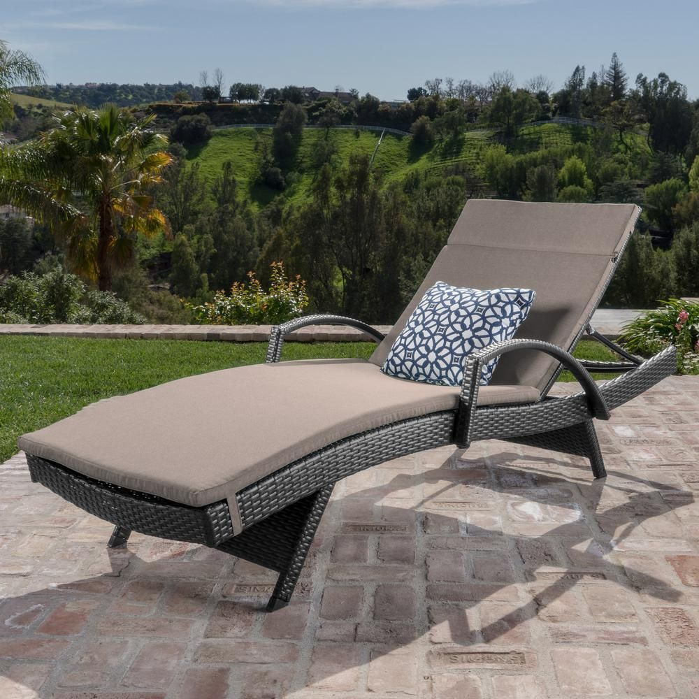Noble House Miller Grey Wicker Outdoor Chaise Lounge with