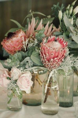 Simple Protea Centerpieces Wedding Table Flowers Protea Wedding Wedding Flowers