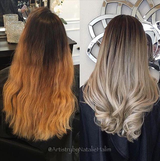 Olaplex On Instagram Ombre Color Correction By Artistrybynataliehalim She Created A Softer Transition By Matrix Hair Color Hair Color Formulas Brassy Hair