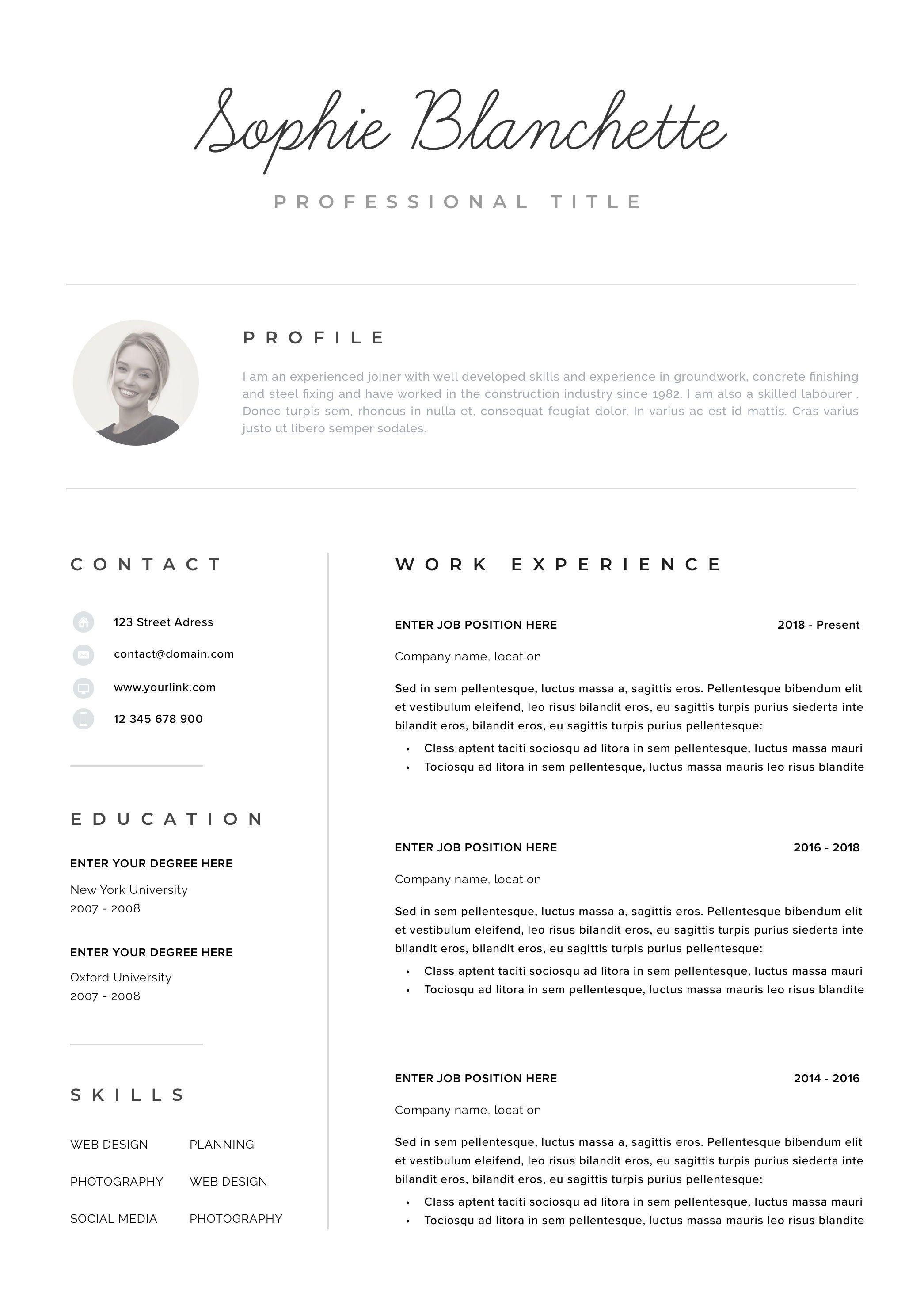 Resume Template Resume Cv Template Cv Design Curriculum