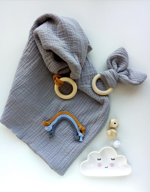 Muslin Comforter And Teether Baby Set Baby Gift