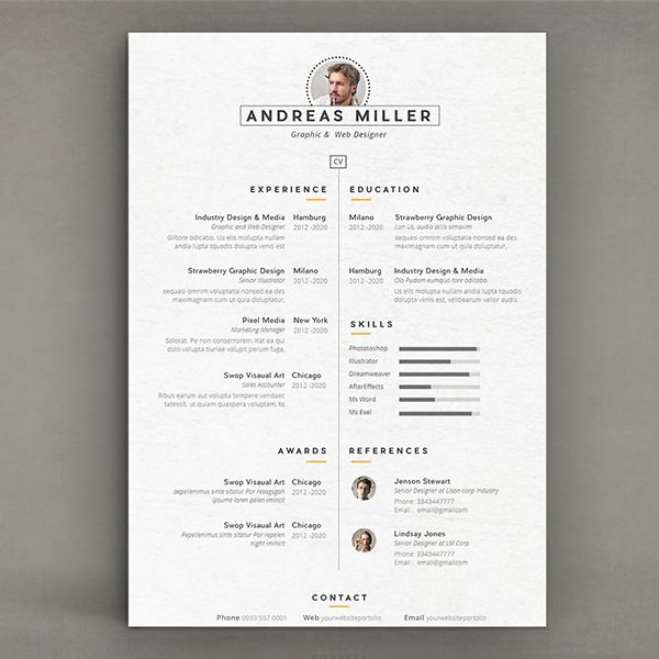 Pin by Livia Santana on Self Branding    CV Pinterest - template for resume microsoft word