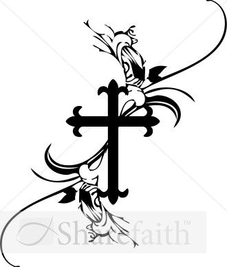 A black and white French cross clipart design with stunning scroll ...