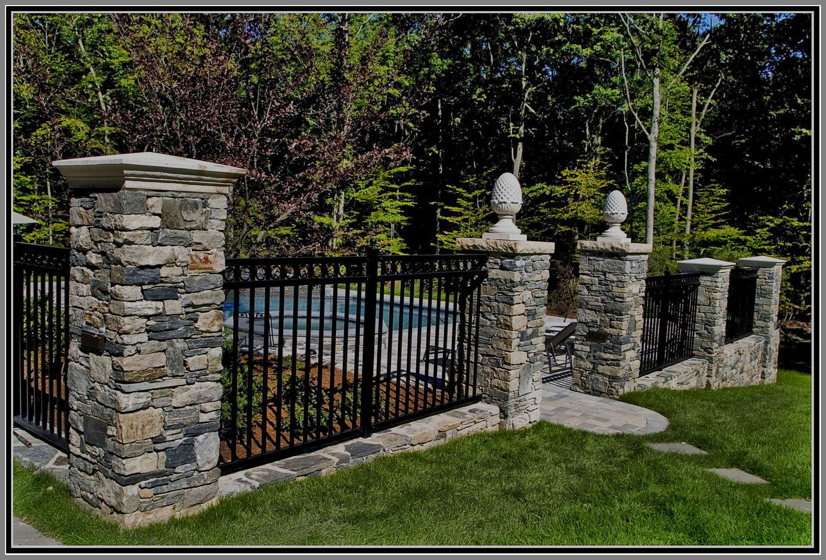 Aluminium Fence With Stone Columns By Artistic Outdoors Aluminum Fence Fence Design Brick Fence