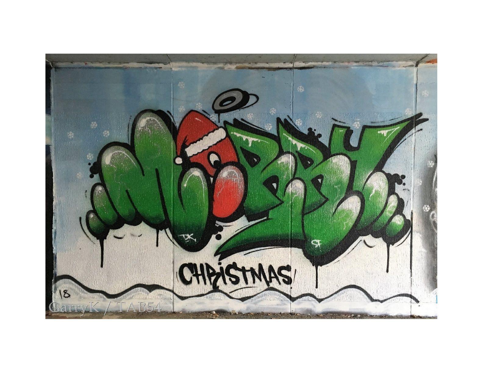Christmas Graffiti Background.Street Art By Decay 37 Christmas 2018 Merry Christmas
