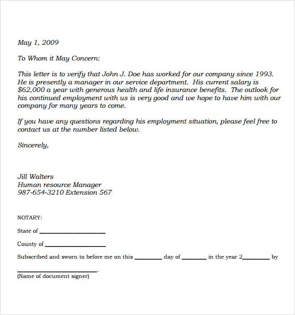 Income Verification Letter Format  Printables    Letter